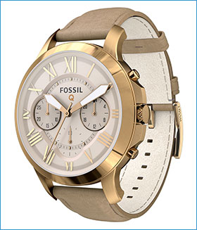 Fossil Group | Q Wearables | Q Grant Rose Gold Leather