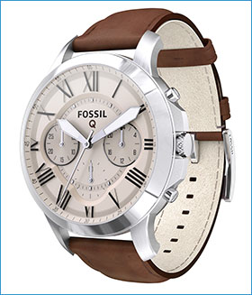 Fossil Group | Q Wearables | Q Grant Stainless Steel Leather