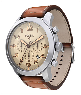 Fossil Group | Q Wearables | Q Pilot Stainless Steel Leather